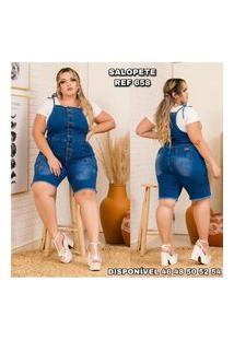 Macacáo Jeans Plus Size Salopete Pedal Tamanho Especial