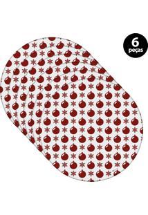 Capa Para Sousplat Mdecore Natal Bolas De Natal Branco 6Pçs