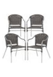Cadeiras 4Un Para Area Varanda Fibra Sintetica Sala Cozinha Jardim Sacada Floripa - Pedra Ferro