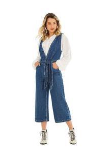Macacão Zinco Pantacourt Com Transpasse Jeans