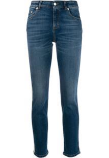 Alexander Mcqueen Calça Jeans Skinny Com Detalhe Lateral - Azul