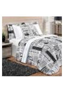 Kit Cobre Leito Queen Size Jornal Estampado Preto / Branco Dupla Face 2,60M X 2,40M Com Porta Travesseiro