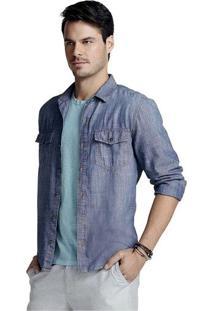 Camisa Masculina Hering Tipo Jeans Em Liocel E Algodão