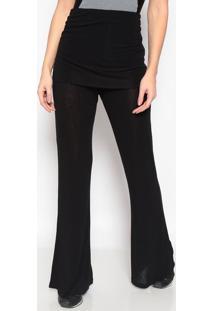Calça Pantalona Com Sobreposição- Preta- Body For Subody For Sure