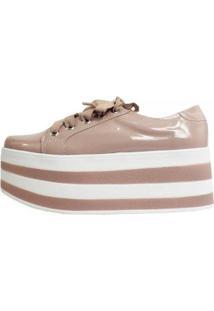 Tênis Damannu Shoes Flatform Verniz Candy Feminino - Feminino-Rosa