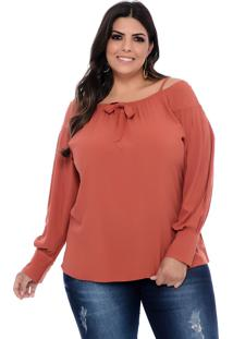 Blusa Plus Size Art Final Terracota Flaviana