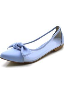 Sapatilha Feminina Bico Fino Com Transparência Em Napa Azul Serenity - Tricae