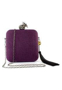 Bolsa Pequena Clutch Festa Mini Bag Quadrada Vinho