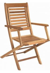 Cadeira De Madeira Maciça Dobrável Com Braços Ipanema Mestra Jatobá