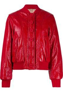 Nº21 Shiny Bomber Jacket - Vermelho