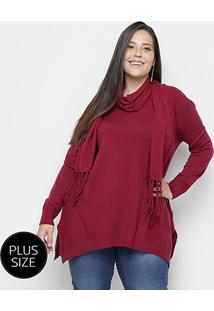 Suéter Tricot City Lady Plus Size Gola Removível Feminino - Feminino-Vinho