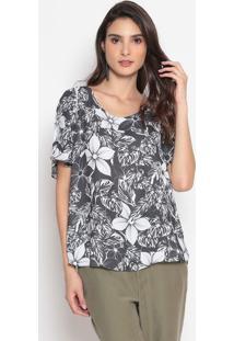 Blusa Acetinada Floral - Preta & Branca- Cotton Colocotton Colors Extra