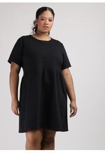 Vestido De Moletom Feminino Plus Size Mindset Curto Manga Curta Preto