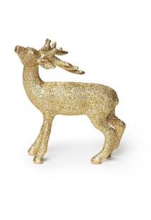 Enfeite Rena Decoração Natal Dourado