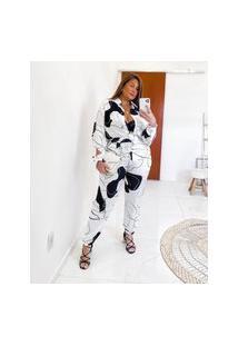 Calça Almaria Plus Size Miss Taylor Jogger Estampada Branco