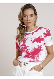 Blusa Feminina Estampada Tie Dye Manga Curta Decote Redondo Rosa