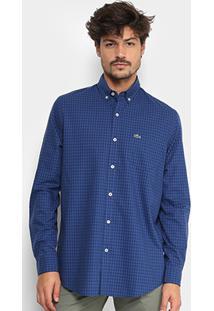 Camisa Xadrez Lacoste Vichy Masculina - Masculino-Marinho+Azul