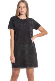 Vestido Feminino Com Lavação Na Malha Preto