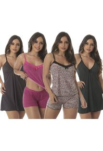 Kit Com 2 Baby Doll Thais + 2 Camisola Sexy Love