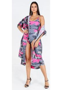 Body Costas U Estampa Camouflage Collor Feminino - Feminino-Rosa+Cinza