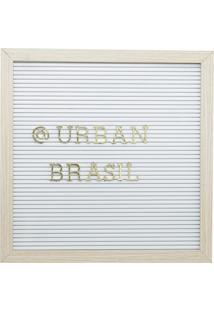 Quadro Madeira Plástico Alfabeto Branco Letras Douradas 30,5X2X30,5Cm Urban