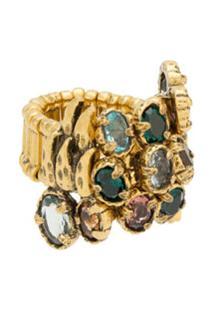 Camila Klein Anel Botões Com Pedrarias - Dourado