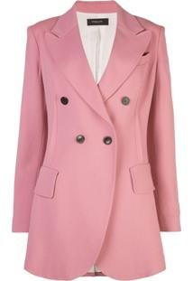 Derek Lam Double Breasted Stretch Crepe Blazer - Rosa