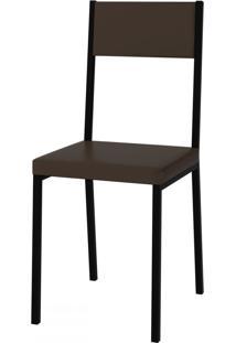 Cadeiras Easy Vinil Cacau/Preto - Pozza