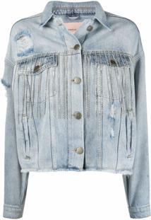 Twinset Jaqueta Jeans Com Franjas E Aplicações De Cristais - Azul