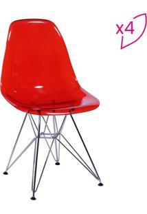 Jogo De Cadeiras Eames Dkr- Vermelho & Prateado- 4Pçor Design