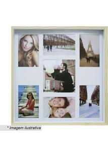 Painel Para Fotos Color Wood - Bege & Branco - 40X40Kapos