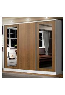 Guarda-Roupa Casal Madesa Eros 3 Portas De Correr Com Espelhos - Branco/Rustic Branco