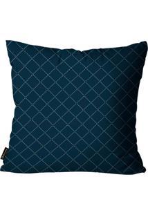 Capa Para Almofada Premium Cetim Mdecore Geométrica Azul Escuro 45X45Cm Azul