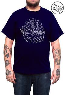 Camiseta Hshop Plus Size Hammer Azul Marinho
