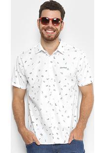 Camisa Colcci Estampada Slim Masculina - Masculino-Branco