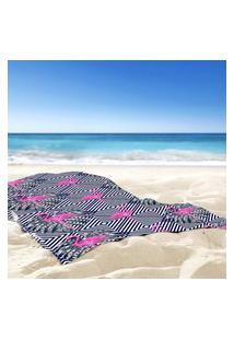 Toalha De Praia / Banho Flamingos Geométricos Único