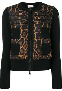 Moncler Leopard Print Down Jacket - Preto
