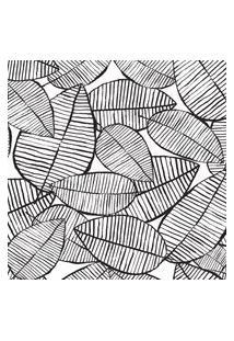 Papel De Parede Folhagem Preto E Branco 57X270Cm