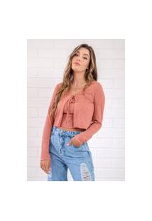 Mini Blusa Pkd Com Cardigan Blush