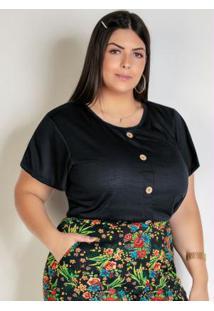Blusa Preta Com Botões Decorativos Plus Size