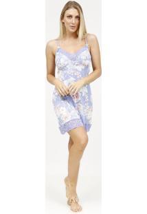 Camisola Floral Com Renda- Lilã¡S & Rosa Claro- Fruitfruit De La Passion
