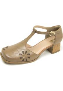 Sapato Retrô Bico Quadrado Dhl Feminino Bege - Kanui
