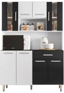 Armário De Cozinha 8 Portas 1 Gaveta Gabi Poliman Móveis Branco/Preto