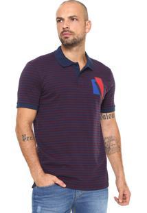 Camisa Polo Calvin Klein Slim Padronagem Listrada Azul 60238c48545ab