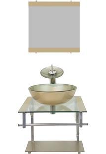 Gabinete De Vidro 40Cm Para Banheiro Croácia Champanhe Ekasa