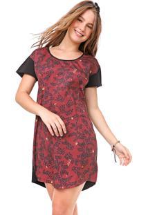 Vestido Redley Curto Planta Preto/Vinho