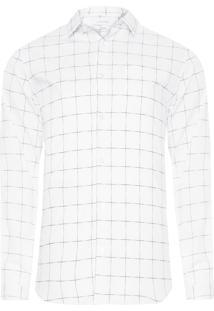 Camisa Masculina Regular Xadrez Falhado - Branco