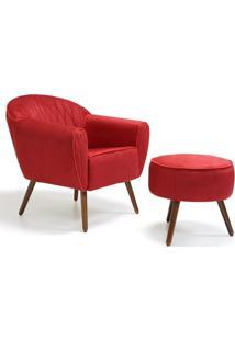 Poltrona Decorativa Com Puff Pés Palito Nina D02 Suede Vermelho Tressê B-173 - Lyam Decor