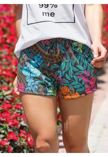Shorts Estampado Com Cordão Decorativo