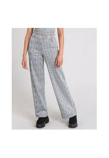 Calça Feminina Pantalona Estampada Xadrez Com Argola Metálica Cinza Mescla
